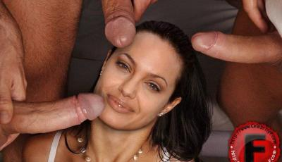 Анджелина Джоли делает минет троим 44 фото