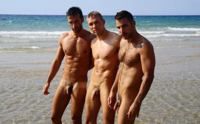 Три голых друга на море 16 фото