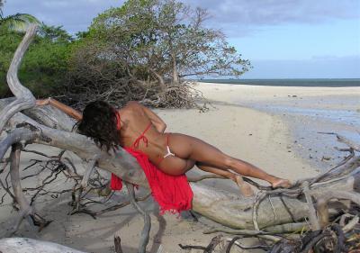 Темнокожая девушка отдыхает на берегу моря 16 фото